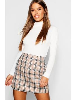 Petite Woven Check Mini Skirt by Boohoo