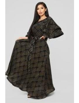 In The Groove Printed Maxi Dress   Black/Gold by Fashion Nova