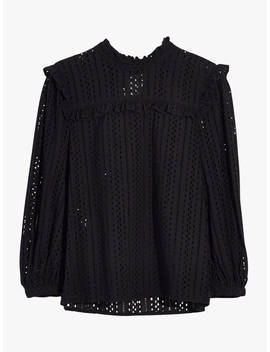 Madewell Eyelet Ruffle Top, True Black by Madewell