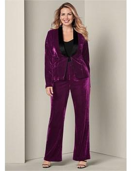 Plus Size Velvet Pant Suit Set by Venus
