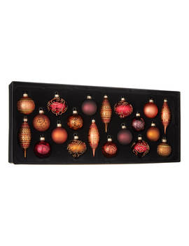 John Lewis & Partners Amber Assorted Baubles, Box Of 20, Copper/Multi by John Lewis & Partners