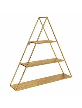 Kate And Laurel Tildan Modern Glam Three Tiered Triangle Floating Metal Wall Shelf, Gold Leaf Finish by Kate And Laurel