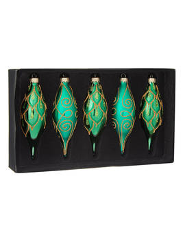 John Lewis & Partners Emerald Finial Bauble, Box Of 5, Green by John Lewis & Partners