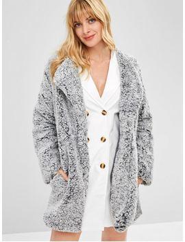 Open Front Loose Fluffy Coat   Slate Gray L by Zaful