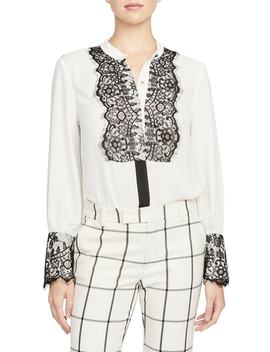 Lace Detail Georgette Blouse by Rachel Roy Collection