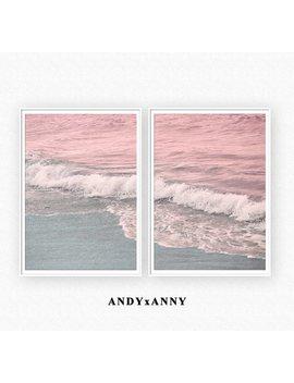 Beach Print Set Of 2, Pastel Pink Decor, Printable Ocean Print Set Of 2, Ocean Digital Download, Beach Photography, Blush Pink Blue Wall Art by Etsy