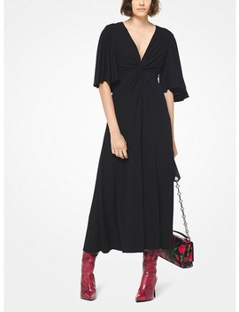 Stretch Matte Jersey Flutter Sleeve Dress by Michael Kors Collection