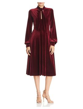 Ruby Tie Neck Velvet Dress by Black Halo