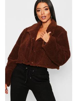 Crop Fleece Puffer Jacket by Boohoo