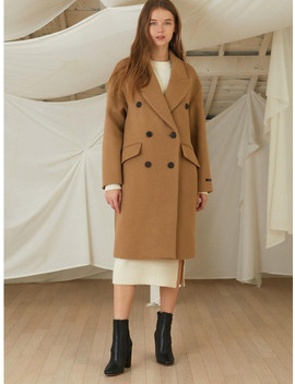 Beige Basic Overfit Wool Double Coat by Lookast