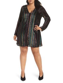 Velvet Burnout Stripe Dress by Leith