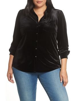 Velvet Button Down Top by 1.State