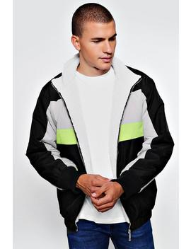 Fully Borg Lined Colour Block Track Jacket by Boohoo