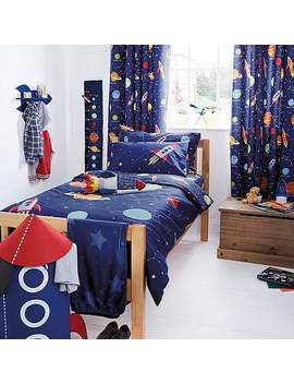 Space Glow In The Dark Duvet Cover And Pillowcase Set by Dunelm