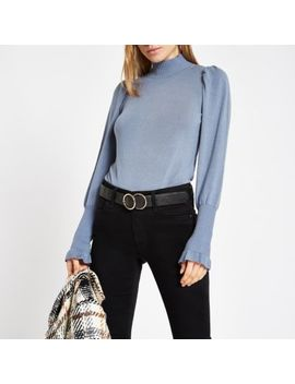Blue Knit Frill Turtle Neck Sweater by River Island