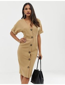 Asos Design Button Through Midi Wiggle Dress by Asos Design
