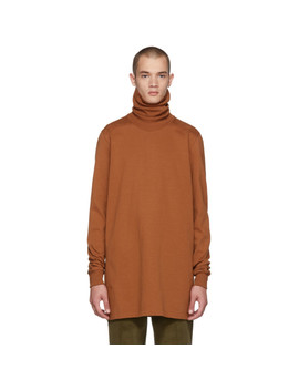 Brown Jersey Turtleneck by Rick Owens