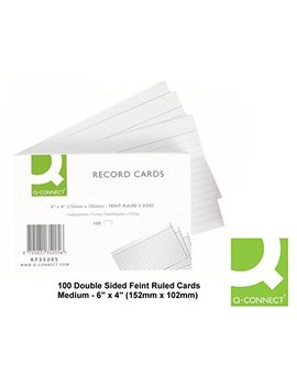 Q Connect (6 X 4 Inch) Feint Ruled Lined Record Cards Double Sided Revision Cards (5 X 100 Cards) by Q Connect