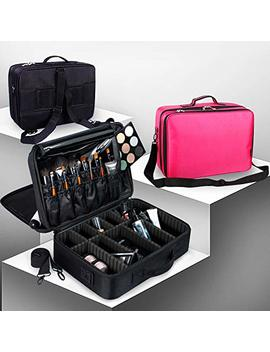 "Makeup Travel Bag Train Case Makeup Cosmetic Case Organizer Portable Artist Storage Bag 10.3"" With Adjustable Dividers For Cosmetics Makeup Brushes Toiletry Jewelry Digital Accessories Black (Black) by Shopping Going"