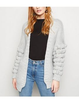 Cameo Rose Pale Grey Bubble Sleeve Longline Cardigan by New Look