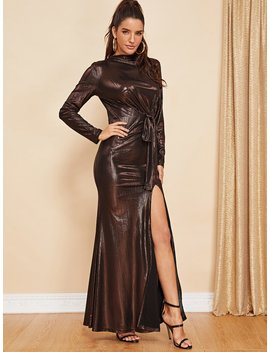 Knot Front High Slit Metallic Dress by Shein