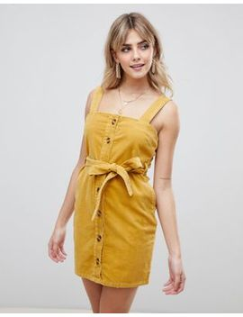 Boohoo Button Through Cord Jumper Dress Mini Dress In Mustard by Boohoo