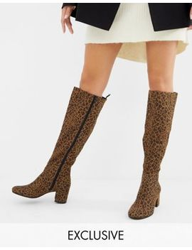 Monki Knee High Heeled Boot In Leopard Print by Monki