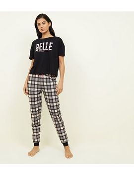 Pink Check Belle Slogan Pyjama Set by New Look