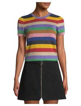 Baylor Short Sleeve Striped Crewneck Top by Alice + Olivia