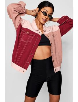 Pink Colour Block Denim Jacket by Boohoo