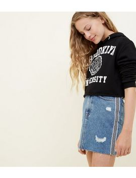 Girls Blue Checkerboard Stripe Side Denim Skirt by New Look