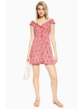 Petite Ditsy Button Bardot Dress by Topshop