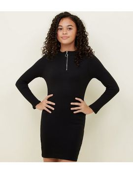 Girls Black Zip Front Bodycon Dress by New Look