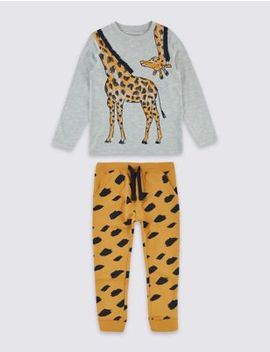 2 Piece Giraffe Top & Joggers Outfit (3 Months   7 Years) by Marks & Spencer
