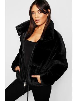 Velvet Puffer Jacket by Boohoo
