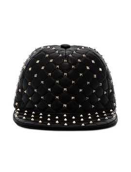 Black Rockstud Leather Cap by Valentino
