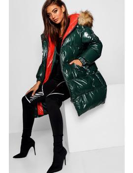 Coated Hooded Puffer Jacket by Boohoo