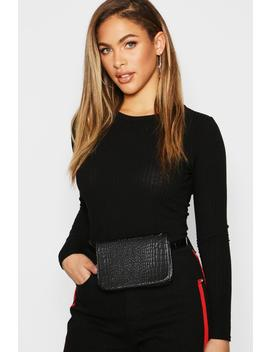 All Over Faux Croc Belt Bags by Boohoo