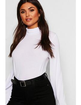 Basic Turtle Neck Wide Sleeve Top by Boohoo