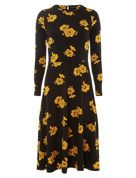 Ochre Floral Print Jersey Midi Fit And Flare Dress by Dorothy Perkins