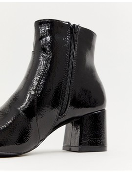 Oasis Heeled Ankle Boots In Black Patent by Oasis
