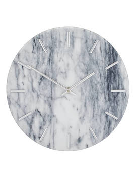 John Lewis & Partners Marta Marble Wall Clock, 30cm, White by John Lewis & Partners