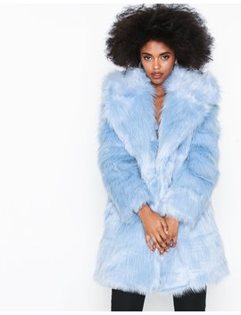 Light Blue Fur Coat by Glamorous