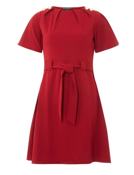 Red Belted Button Dress by Dorothy Perkins