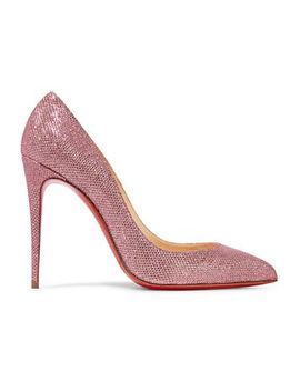 Pigalle Follies 100 Glittered Canvas Pumps by Christian Louboutin