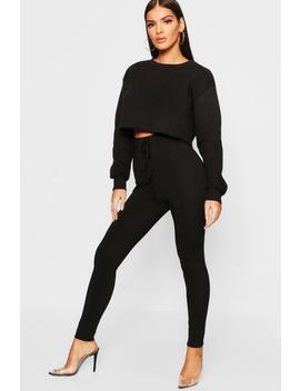 Tie Waist Ribbed Leggings by Boohoo