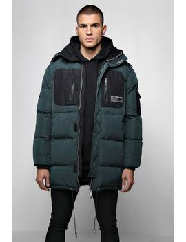 Colour Block Man Branded Puffer With Hood by Boohoo