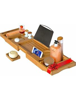 Luxury Bamboo Bathtub Caddy Tray With Extending Sides Book Rest And Wine Holder Rack 1) Water Resistant. 2) Extendable Sides. 3) Book/I Pad Holder. 4) Non Spill Wine Glass Holder.[Free 2 Year Warranty] by Perfect Placed