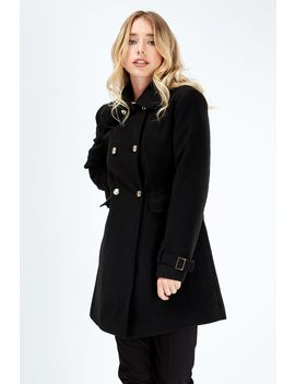 Button Detail Pea Coat by Select