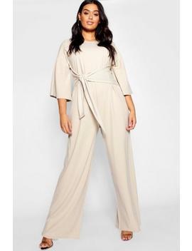 Plus Kimono Sleeve Tie Waist Jumpsuit by Boohoo